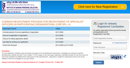COMMON RECRUITMENT PROCESS FOR RECRUITMENT OF SPECIALIST OFFICERS IN PARTICIPATING ORGANISATIONS- (CRP SPL- X)